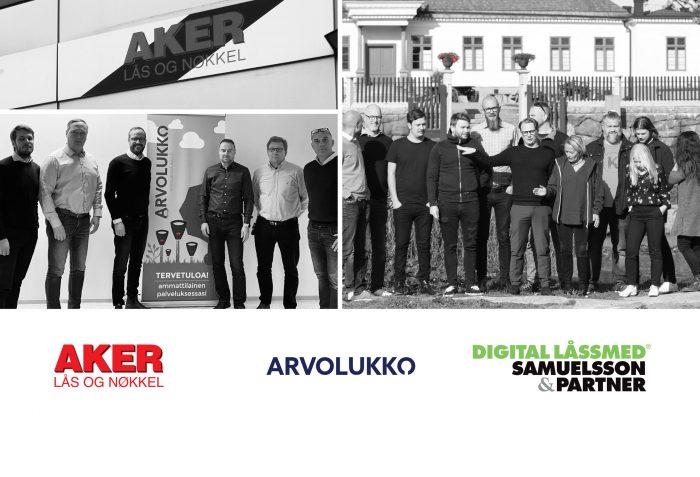 Gruppbild och logos Aker, Arvolukko, Samuelsson och Partner